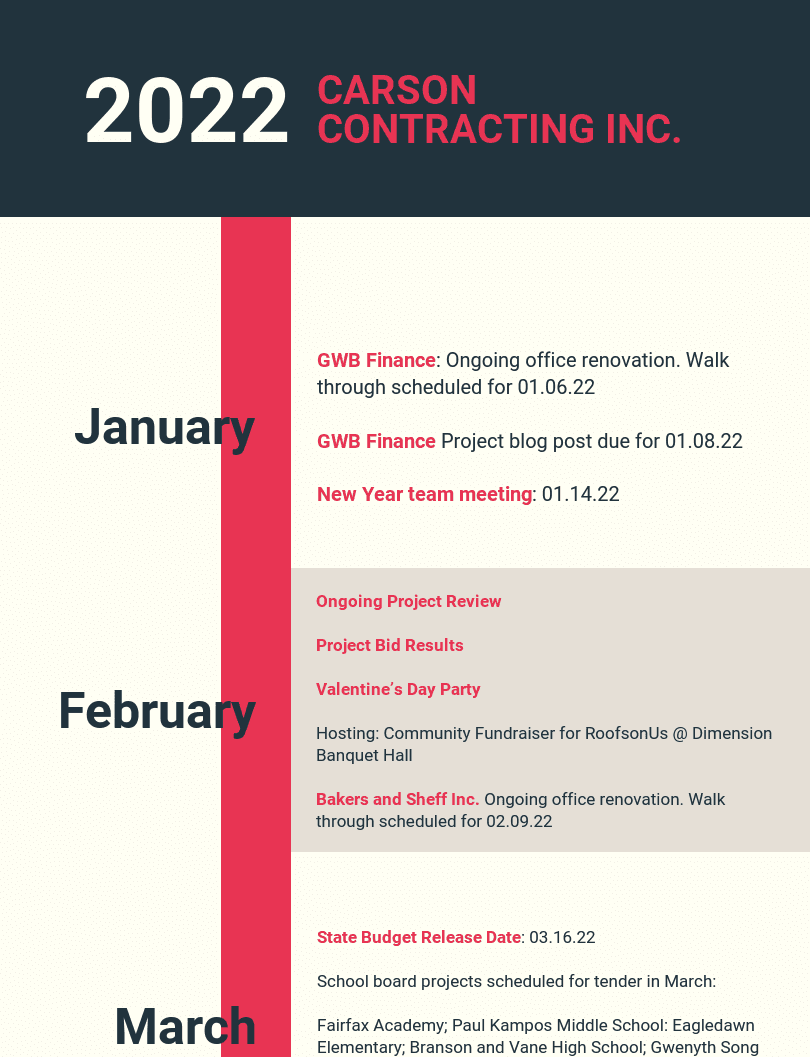 Heavy Monthly Timeline Infographic in 2020 Timeline