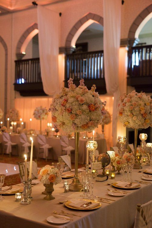 Ivory Amber Peach Wedding Centrepieces Gold Accessories