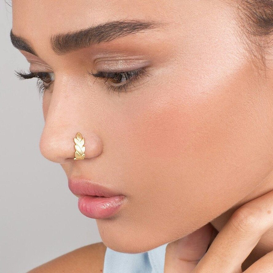 Gold Wheat Fake Nose Ring Faux Nose Ring Fake Nose Hoop Etsy Nose Jewelry Faux Nose Ring Gold Heart Stud Earrings