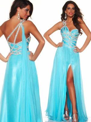Mac Duggal Aqua Blue Pageant Dress.