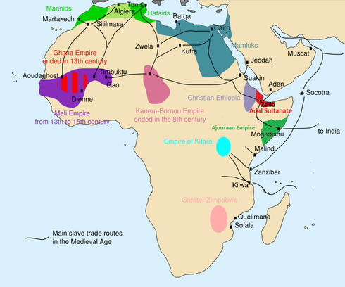 13th century africa map of the main trade routes and states 13th century africa map of the main trade routes and states kingdoms and gumiabroncs Images