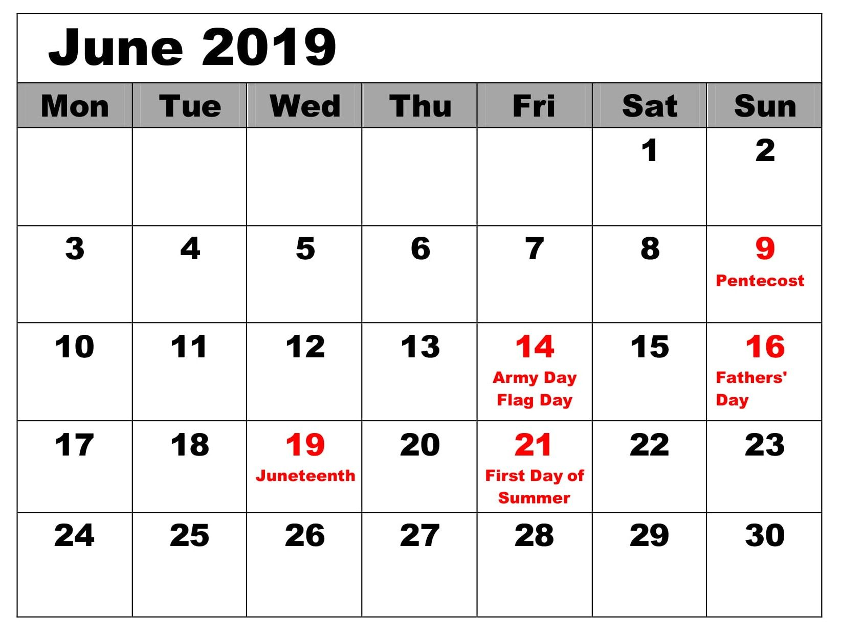 Calendar June 2019 With Holidays Excel With Images June 2019