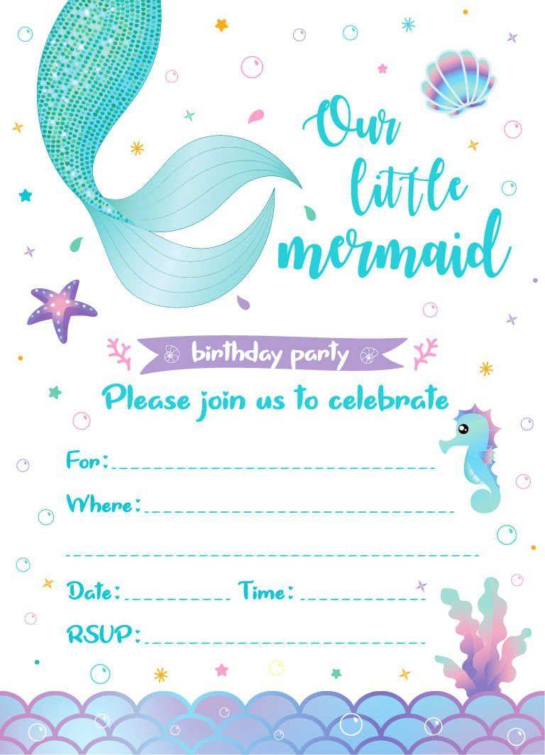 Blank Pool Party Invitations Luxury Little Mermaid Birthday Party Invita In 2020 Invitation Card Birthday Pool Party Invitations Graduation Party Invitations Templates