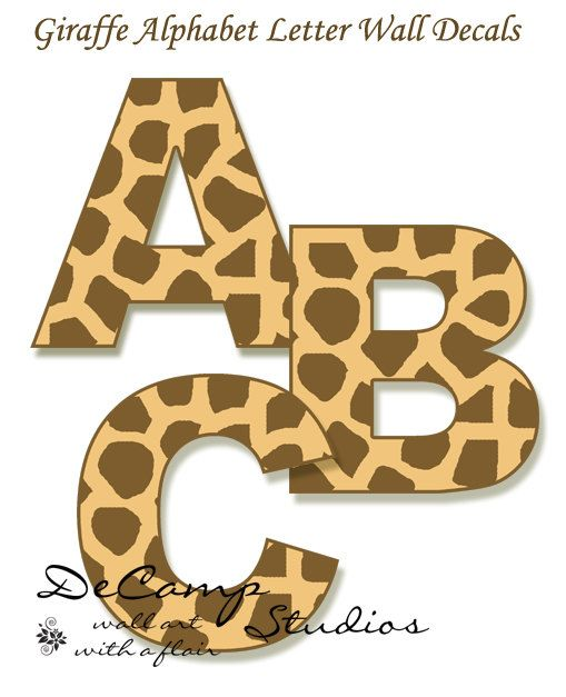 Giraffe print Alphabet Letters wall art decals for the Jungle room ...