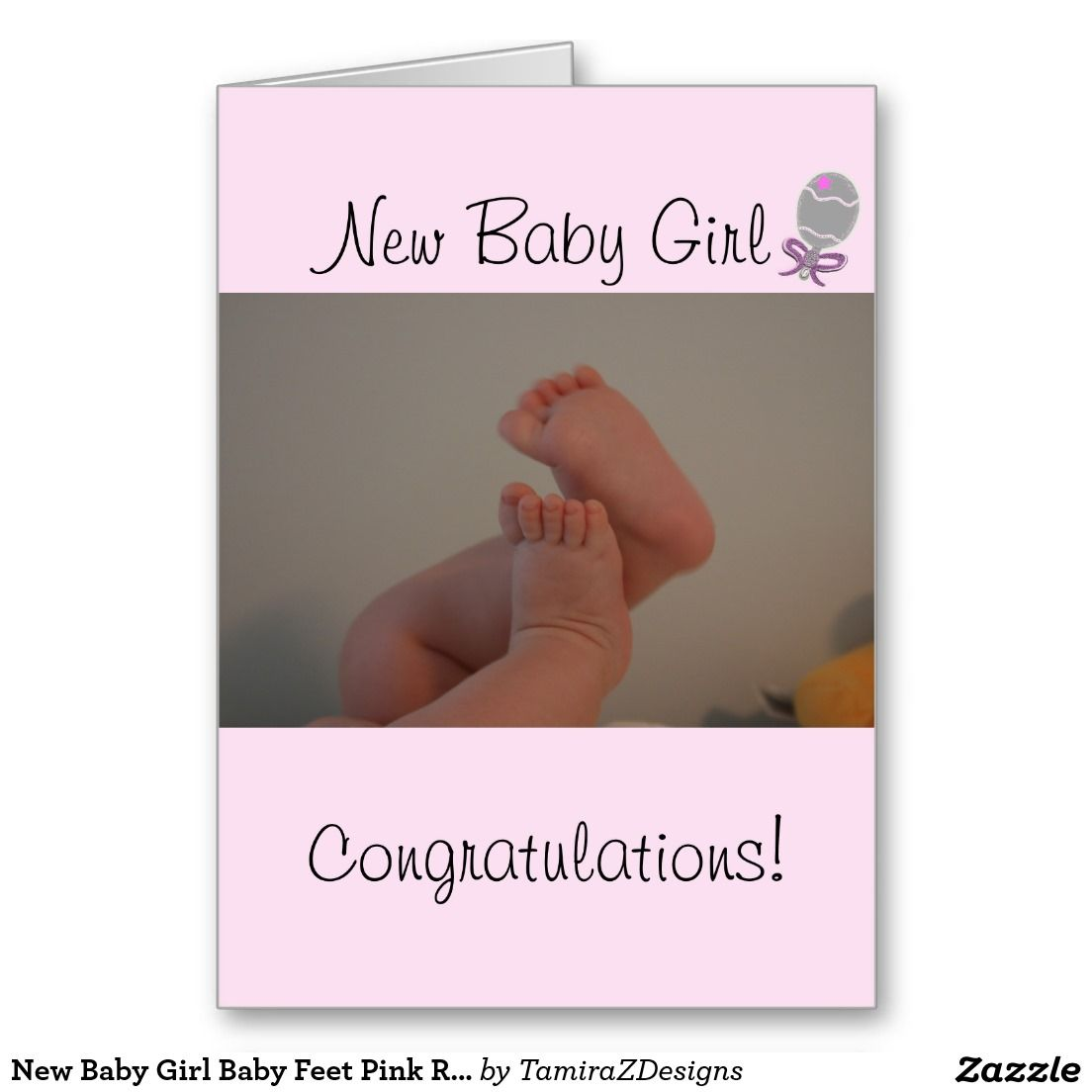 New Baby Girl Baby Feet Pink Rattle Congratulations Best Wishes