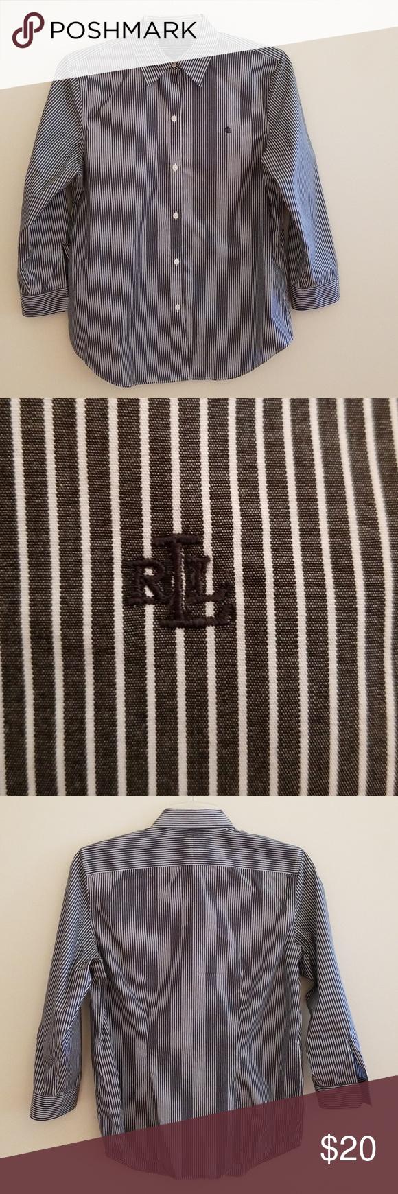 7cf21a89 Ralph Lauren Women's 3/4 Sleeve Non-Iron Shirt Ralph Lauren stripe shirt  with RL embroidered on left side. Has open sleeve cuffs. Button down front.