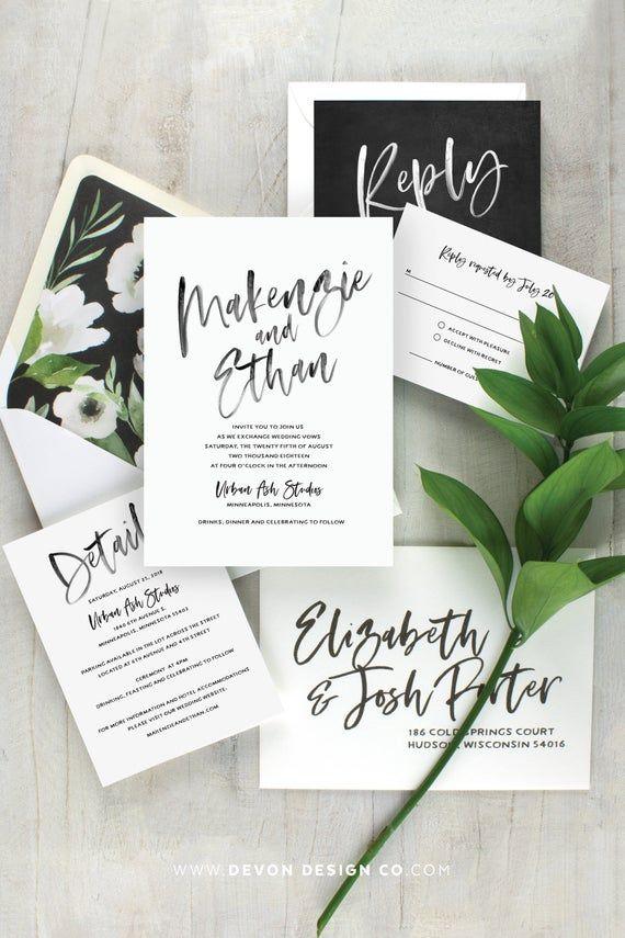 black and white wedding invitation, modern wedding invitation, simple wedding invitation set, rustic wedding, printed invitations