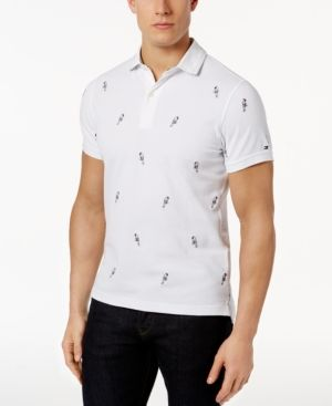 c027fe2fa Tommy Hilfiger Men's Slim-Fit Embroidered Parrot Polo - White XXL ...