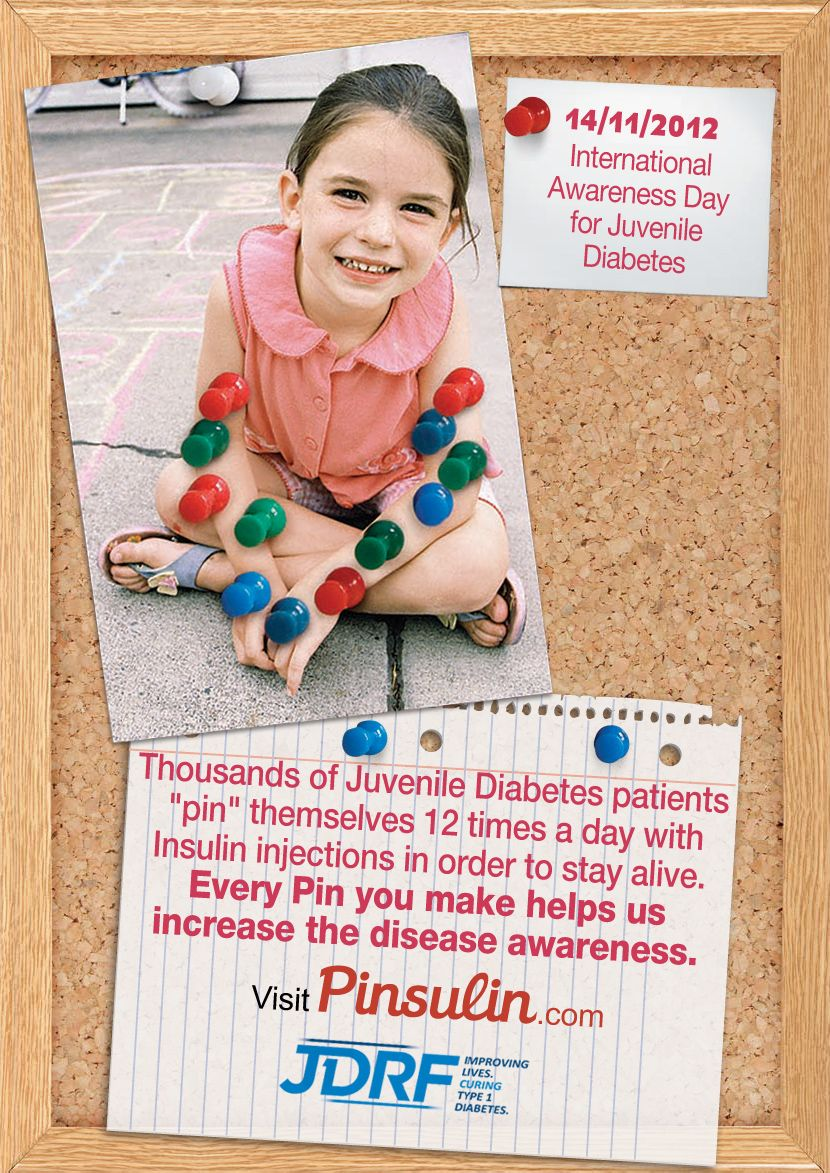 """Thousands of Juvenile Diabetes patients """"pin"""" themselves 12 times a day with Insulin injections in order to stay alive. Help us and Repin"""