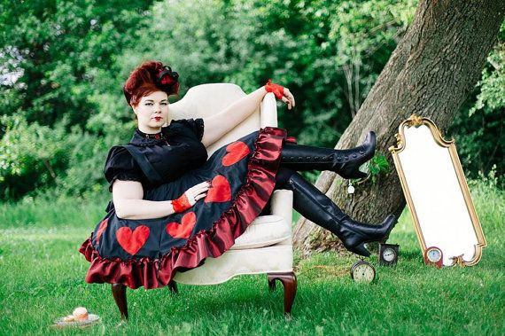 Plus Size Queen of Hearts Costume Dress - Ste&unk Adult Halloween - Alice in Wonderland-  sc 1 st  Pinterest & Plus Size Queen of Hearts Costume Dress - Steampunk Adult Halloween ...