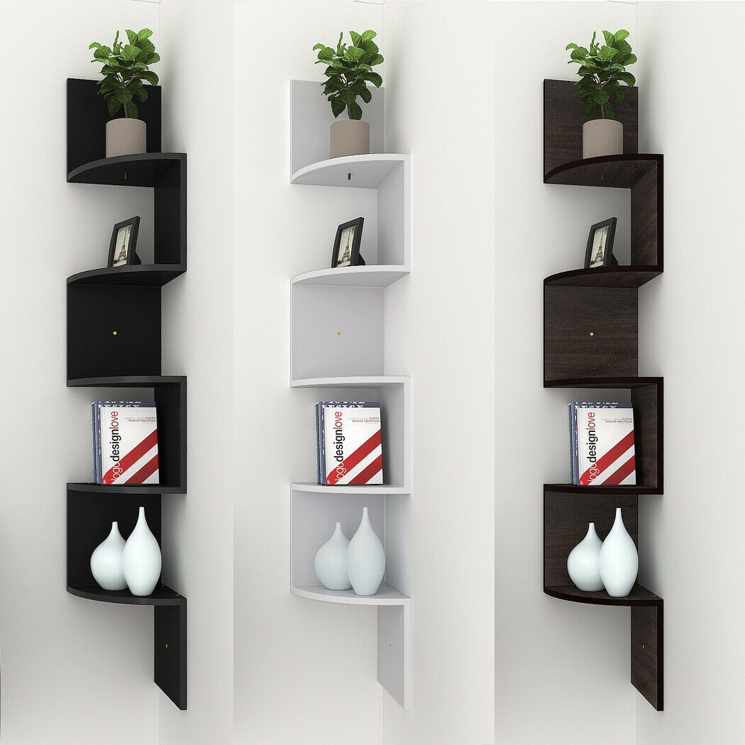 5 Tier Wooden Corner Shelf Zig Zag Floating Wall Mount Storage Display Rack Home 10 99 Corner Shelves Ideas Of Wooden Corner Shelf Corner Shelves Shelves