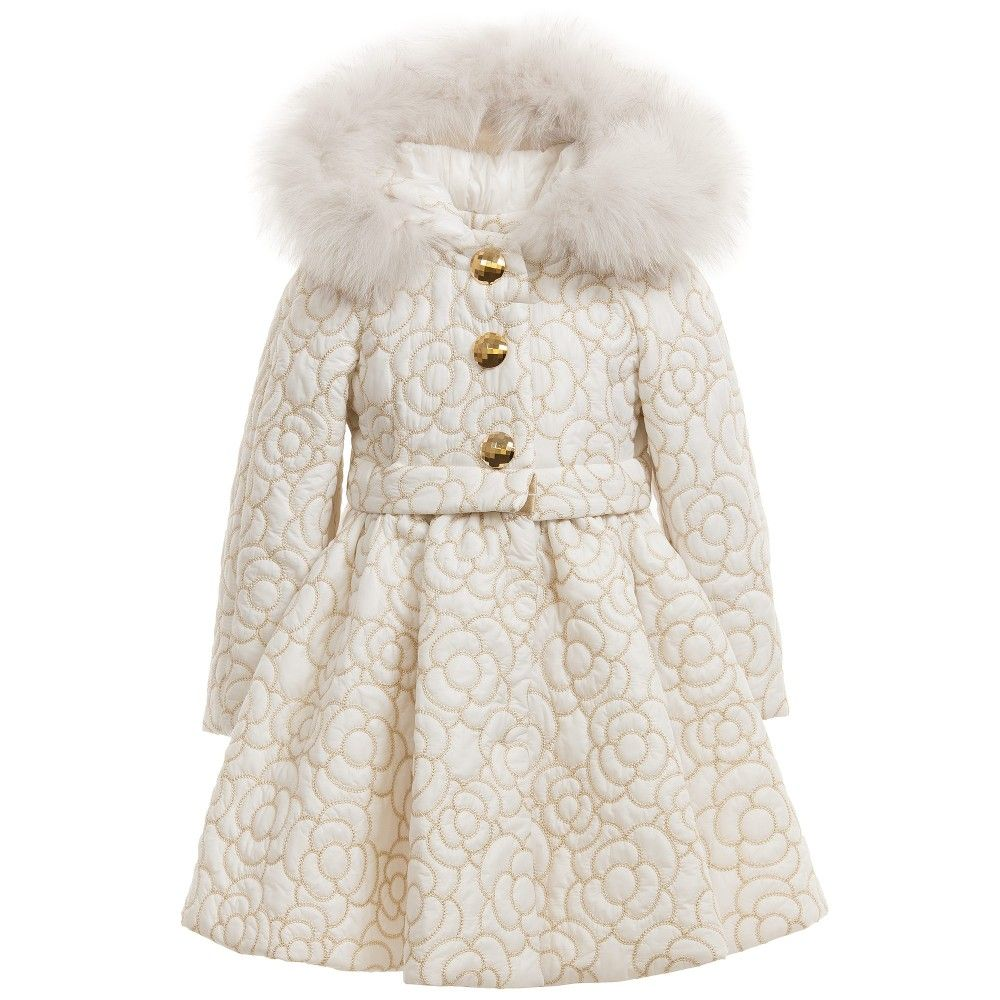 Girls Ivory & Gold Coat with Fur Trim | Fur trim, Ivory and Fur