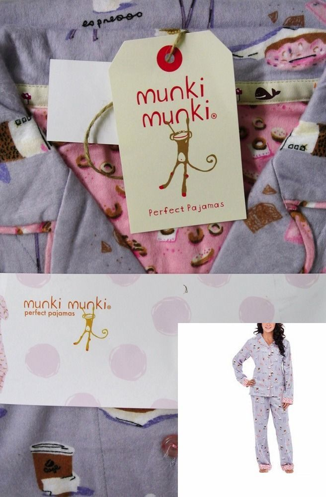NEW Munki Munki 2 Piece Flannel Coffee Espresso Latte Lavender Pajama Set  Large  MunkiMunki   8d0095460