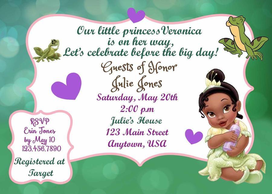 Princess Tiana Baby Shower Invitation Baby Ideas Pinterest