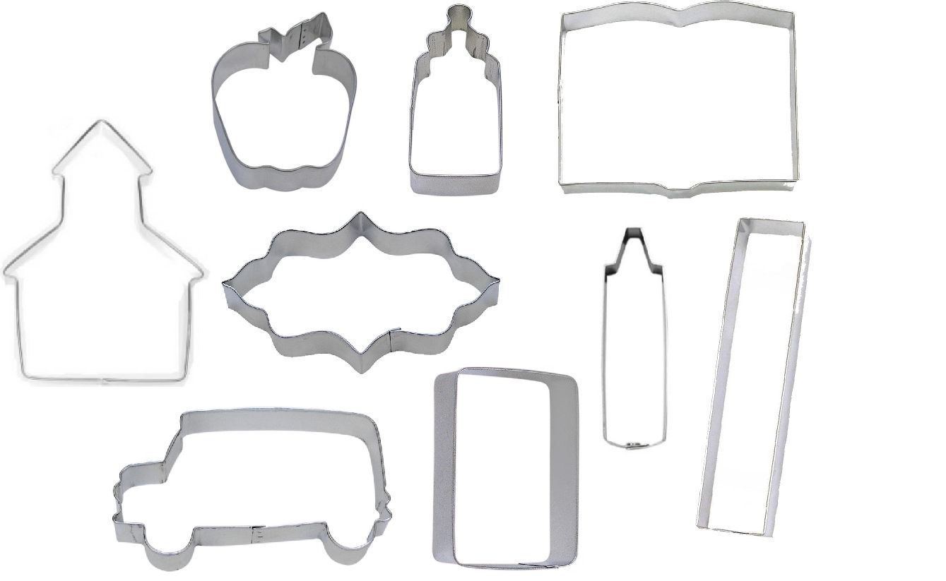 4 Piece Sewing Machine Thimble Spool Scissors Cookie Cutter Set New!