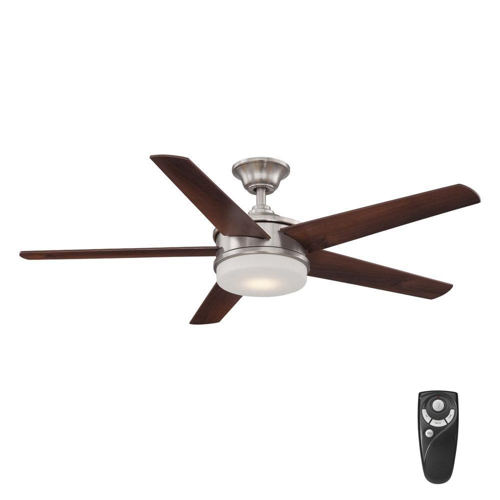 Home Decorators Collection Davrick 52 In Led Indoor Brushed Nickel Ceiling Fan With Light Kit And Remote Control Yg449a Bn The Home Depot Brushed Nickel Ceiling Fan Ceiling Fan With Light Ceiling