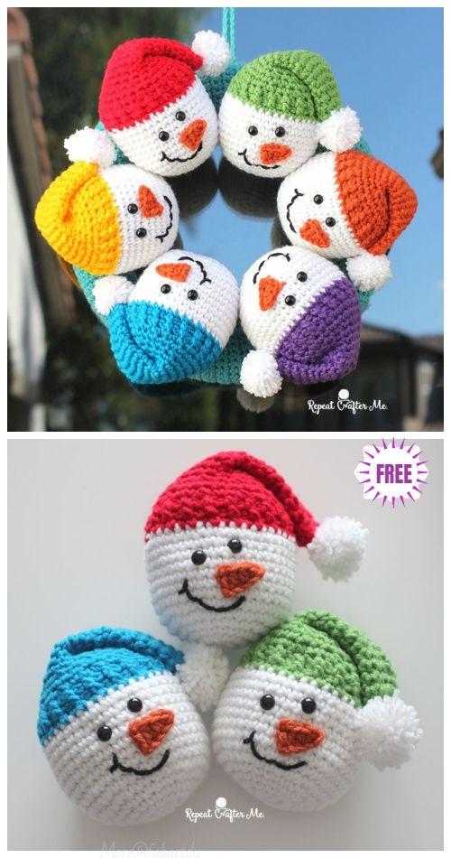 Crochet Snowman Heads Amigurumi Free Pattern Video Christmas Crochet Patterns Free Christmas Crochet Patterns Crochet Christmas Wreath