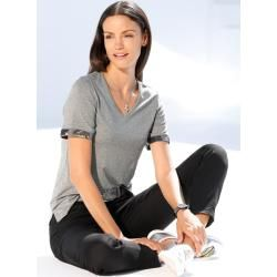 Amy Vermont, Shirt mit Pailletten am Armabschluss, grau Amy Vermont #shouldertops