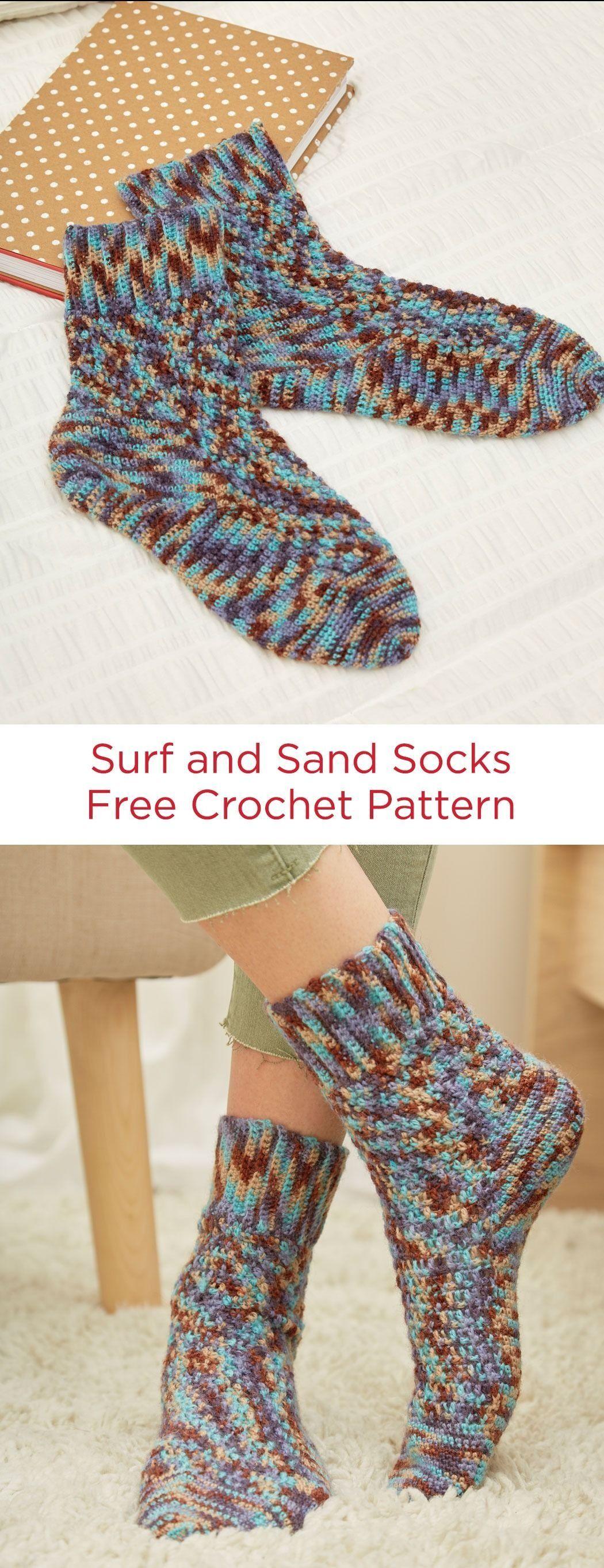Free Crochet Socks Pattern Red Heart Yarn Heart & Sole Yarn ...