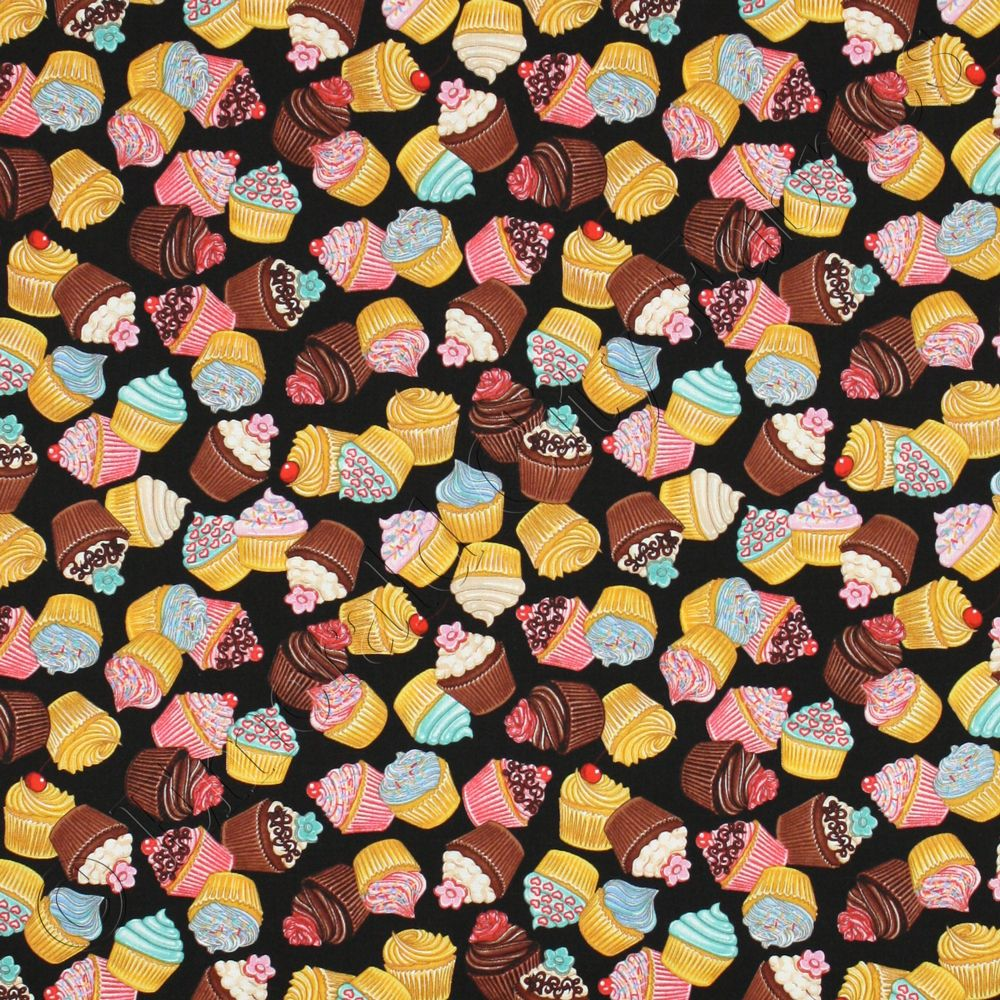 RJR Whats Cookin'? Cooking Cupcakes Black Food Cotton Quilt ... : ebay quilting fabric - Adamdwight.com