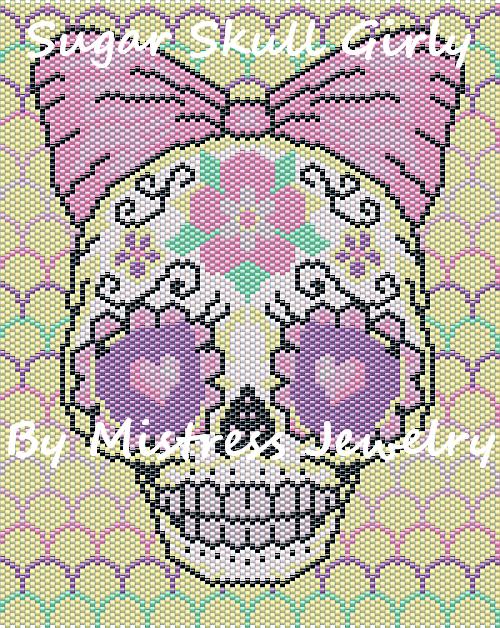 Sugar Skull Girly Word Map & Chart | Bead-Patterns