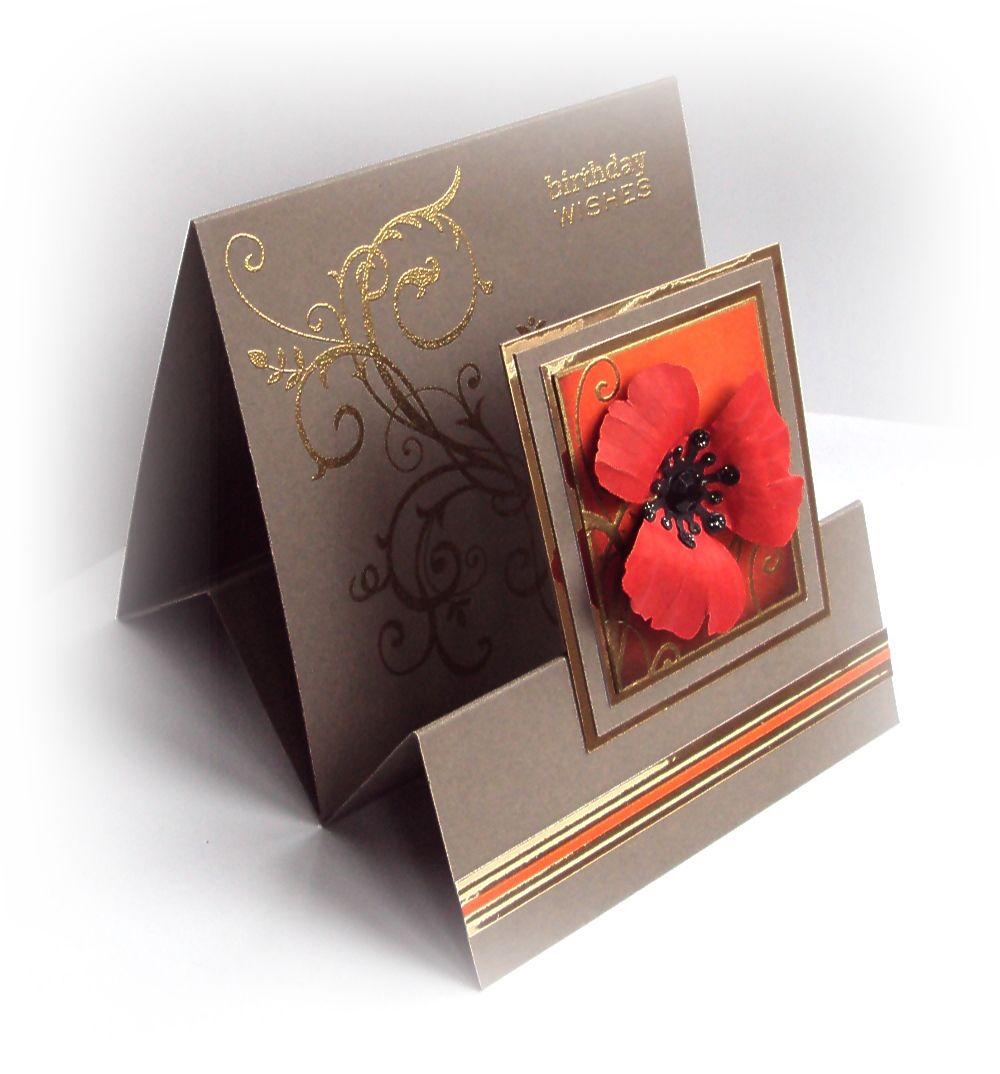Beautiful Folding Card Making Ideas Part - 11: Handmade Card From Crafticious: Tent Fold Card - U0027Poppyu0027 . Luv The Shaped  Petals On The Poppy .