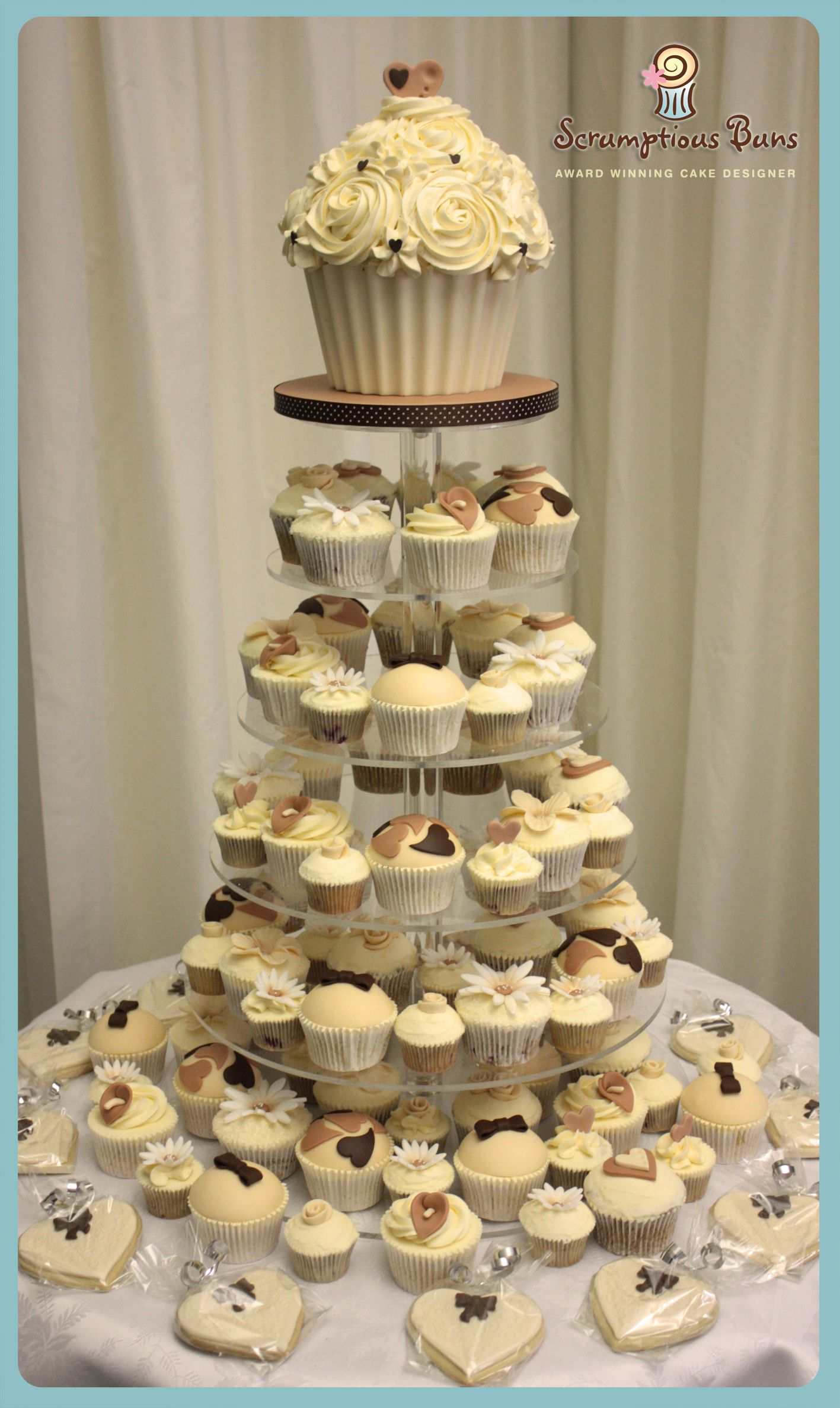Coffee Cream Wedding Cupcake Tower With Giant Cupcake From