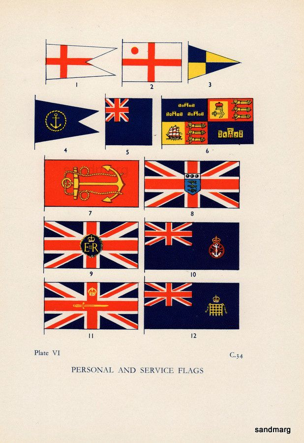 Vintage Chart Of Twelve Personal And Service Flags Of The British Royal Navy Royal Navy Naval Flags Vintage Flag