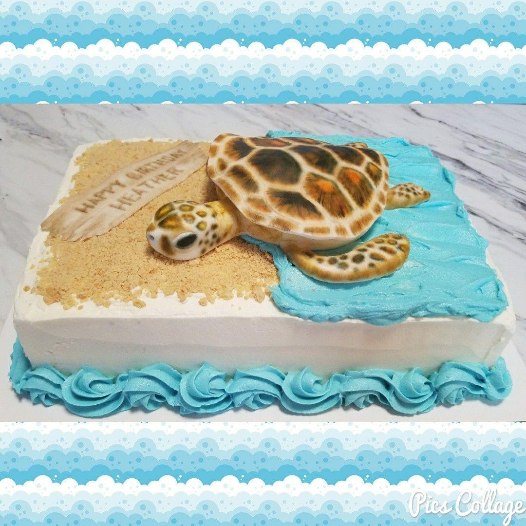 Awe Inspiring Loggerhead Sea Turtle Cake Turtle Birthday Cake Sea Turtle Cake Personalised Birthday Cards Veneteletsinfo