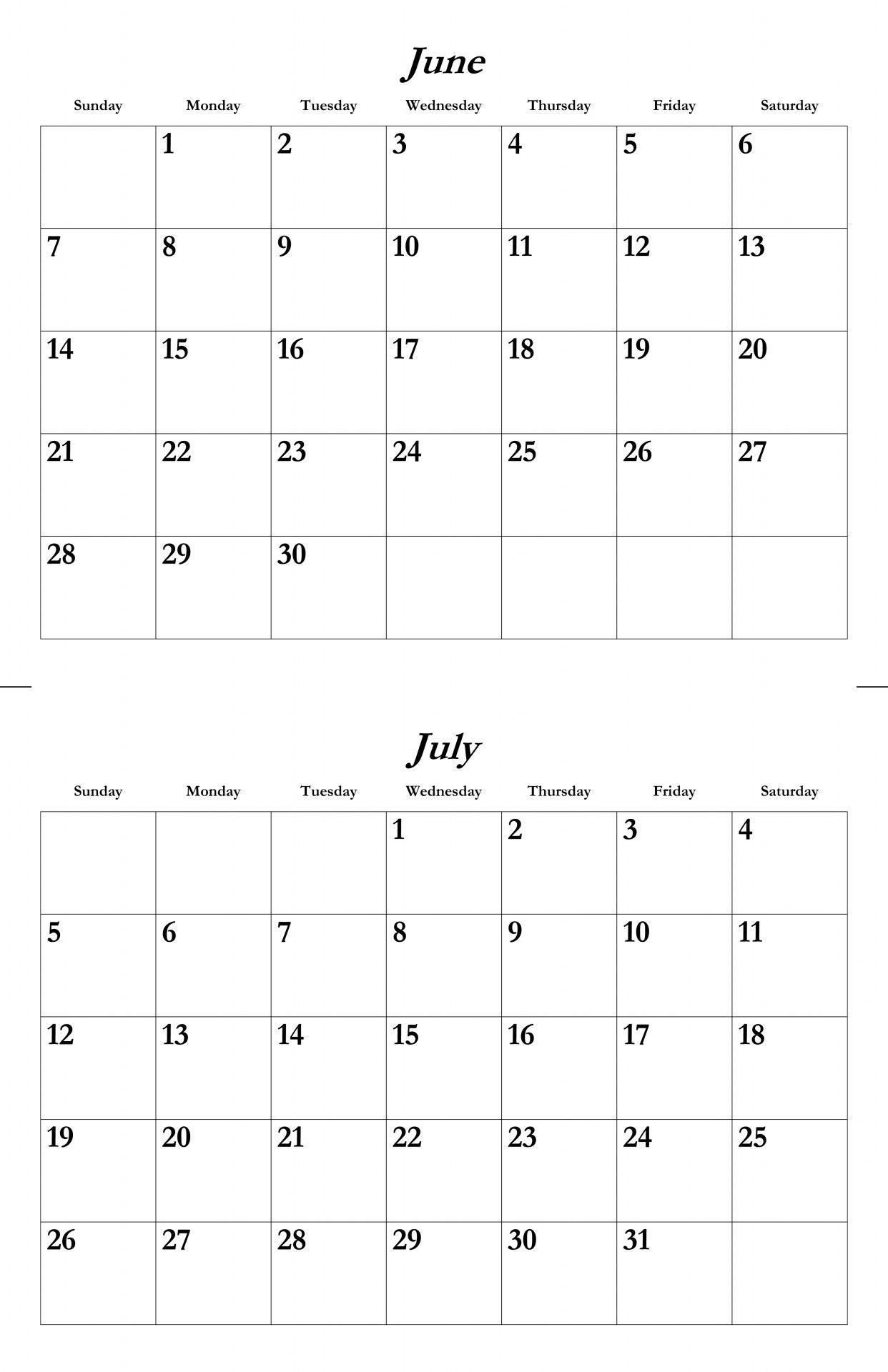 June And July Calendar