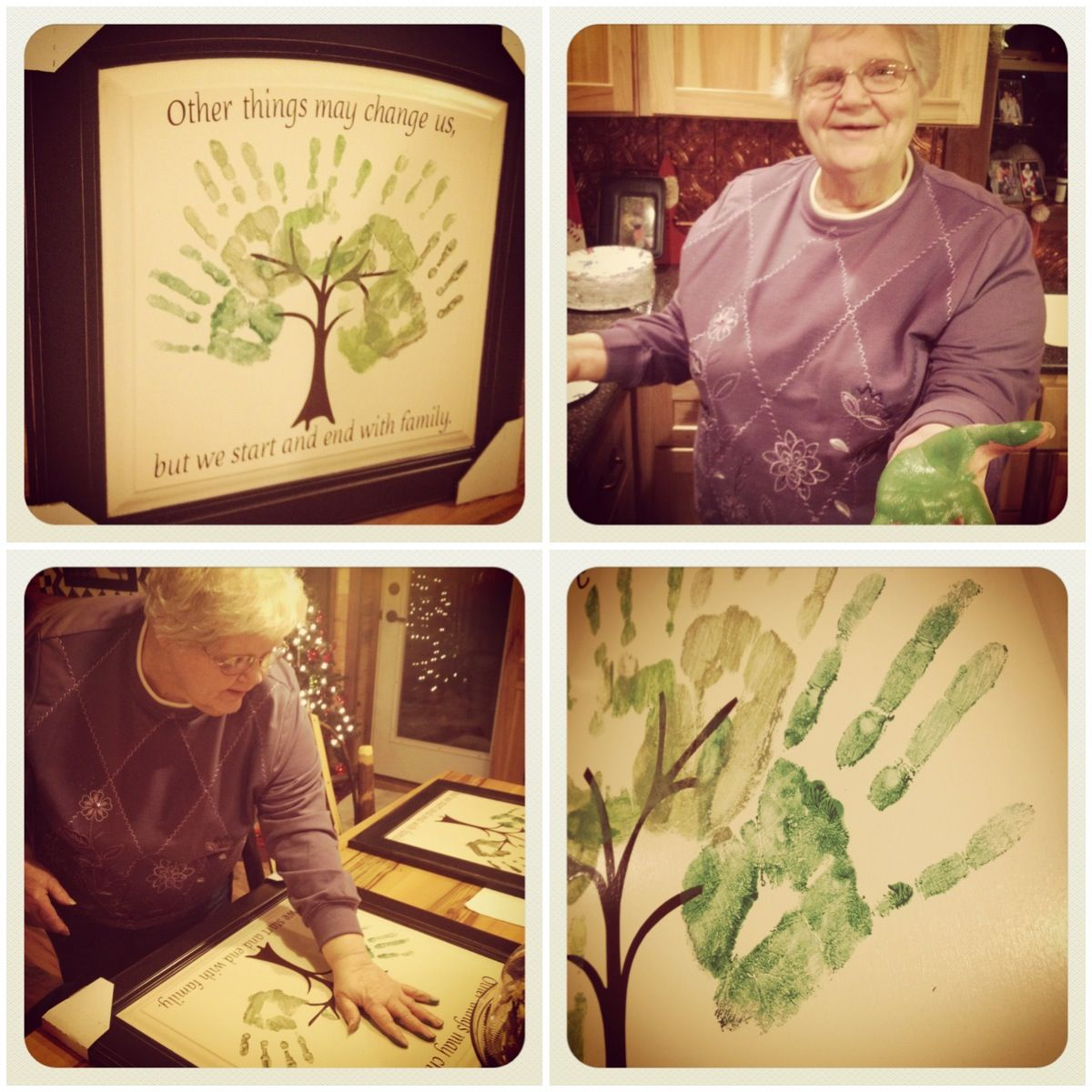 Handprint Family Tree Made From A Cabinet Door Created