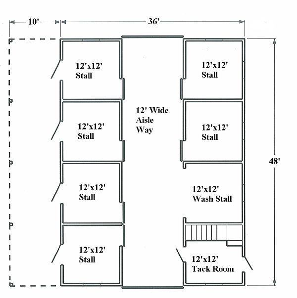Horse barn floor plan horses at home barn planning for Horse stable blueprints