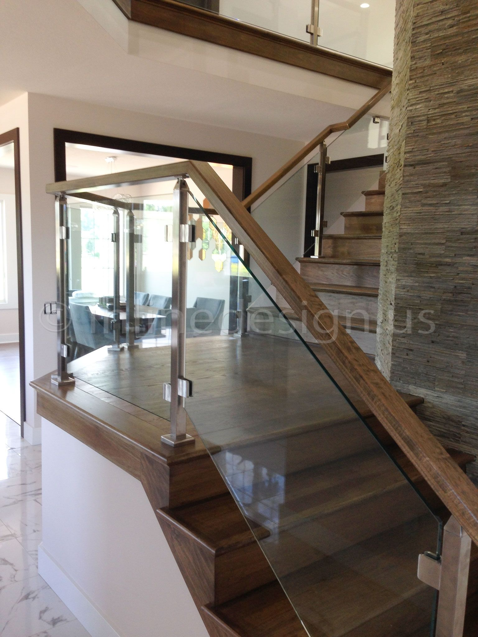 Glass Panels In A Metal Rail For Staircase Description From