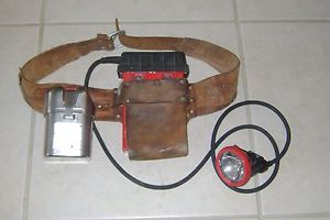 Vintage Msa Coal Miners Koehler Wheat Mining Light Battery With Leather Belt Coal Miners Coal Vintage