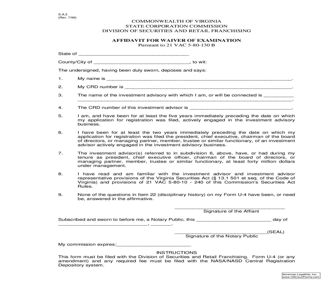 Affidavit For Waiver Of Examination Virginia Ms Word Words