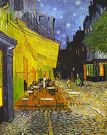 Terrasse du café sur la place du Forum, 1888,Vincent van Gogh(Otterlo, Museum Kröller-Müller). Avec l'arrivée de l'automne, Van Gogh prend l'habitude de peindre de nuit, en plein air, à la lumière des bougies. Cette vue, réalisée à Arles, est l'une de ses premières vues urbaines, après tant de paysages.