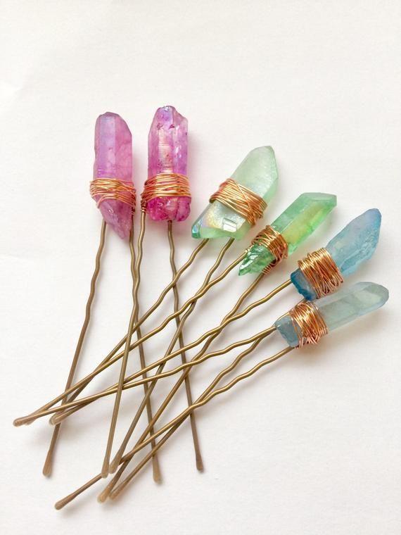 Blue green Wired Aura Quartz Raw Stone Crystal Hair Clip Accessories wedding