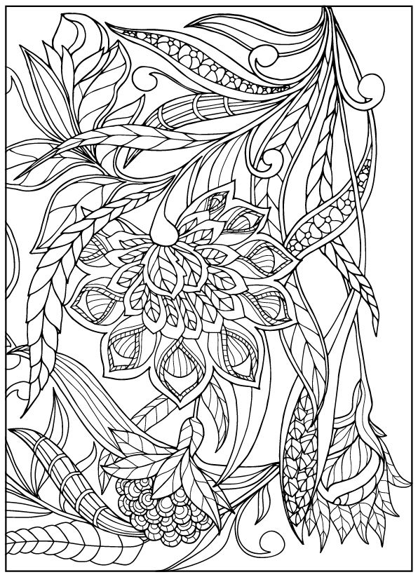 Coloring Page With Vintage Flowers Pattern