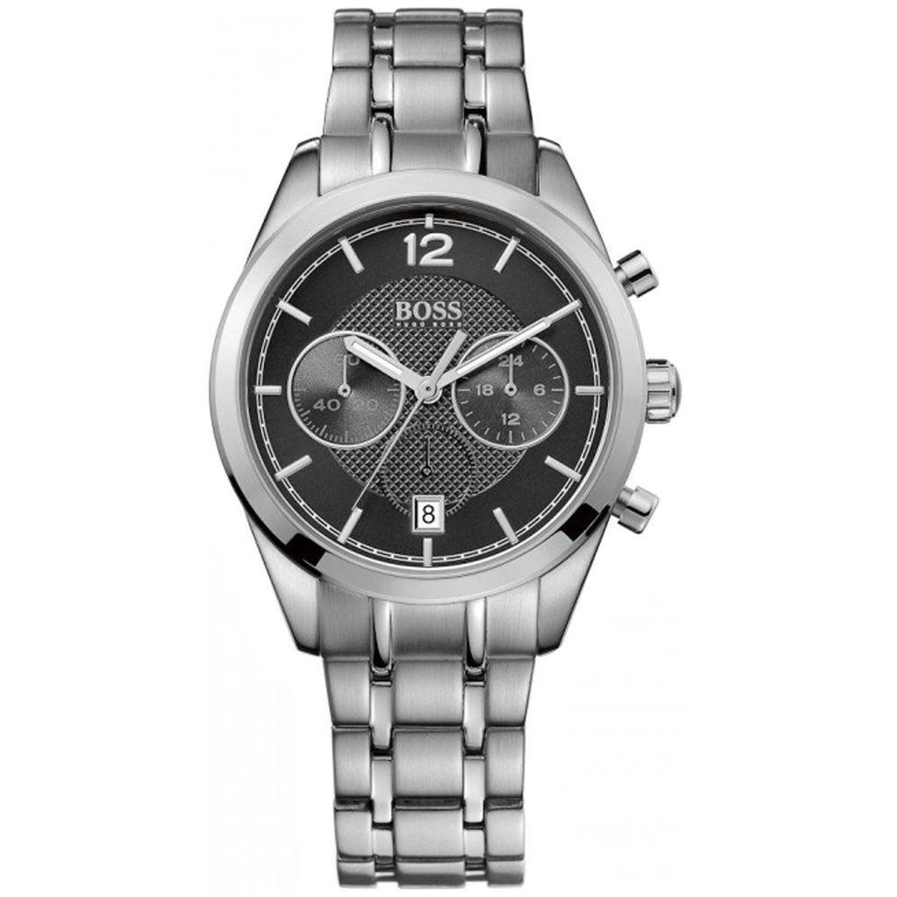 Hugo Boss 1512567 Chronograph Herren 44 Mm 5atm Miyota Quarzwerk Mit Datumsanzeige Schwarzes Lederarmband In Armband Leder Schwarzes Lederarmband Herrenarmband