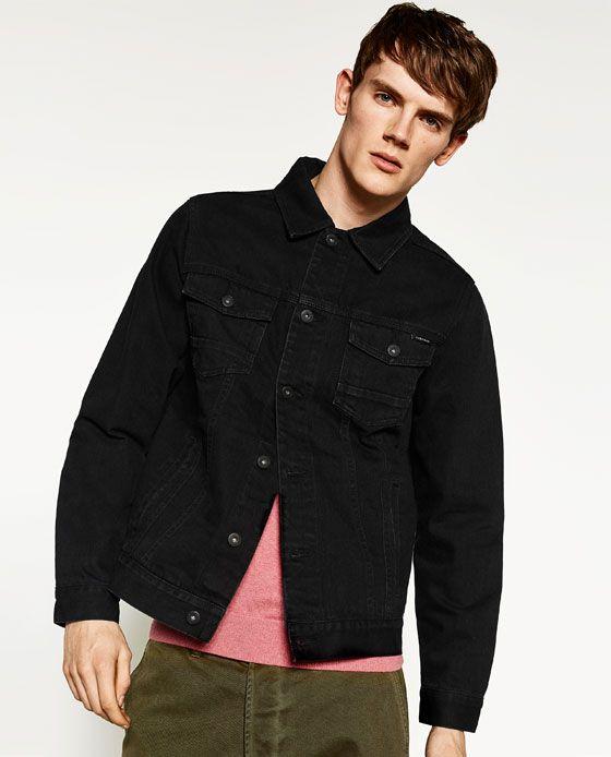 Image 2 Of Basic Denim Jacket From Zara Denim Jacket Jackets Black Denim Jacket