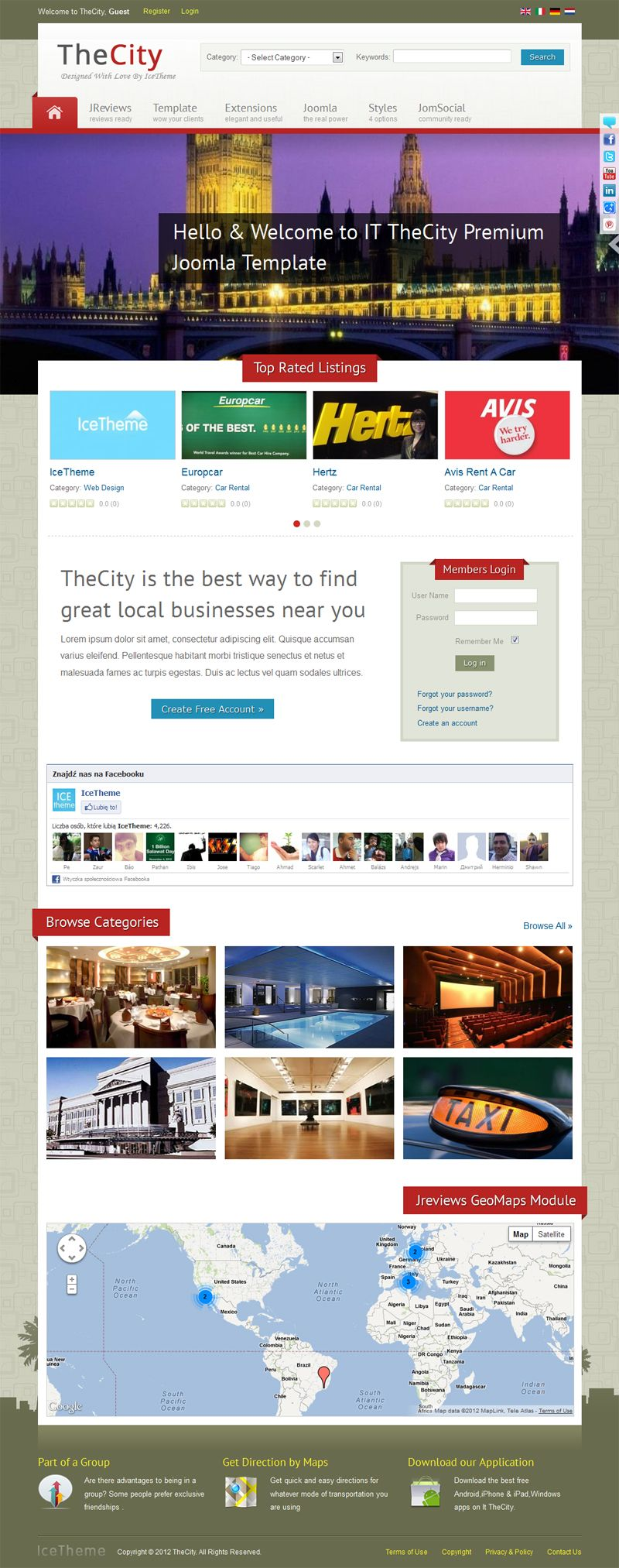 Turn Your Website Into A Full City Portal With It Thecity Joomla Template Jreviews And Jomsocial Components Are Included