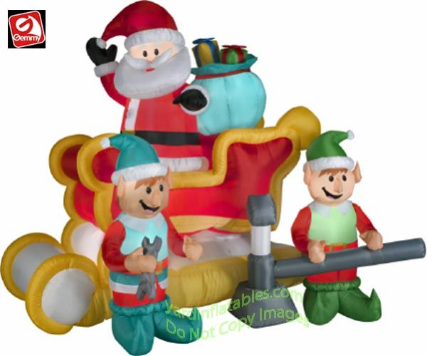 Gemmy Airblown Inflatable Animated Santa In Sleigh w/ 2 Elves - inflatable christmas yard decorations