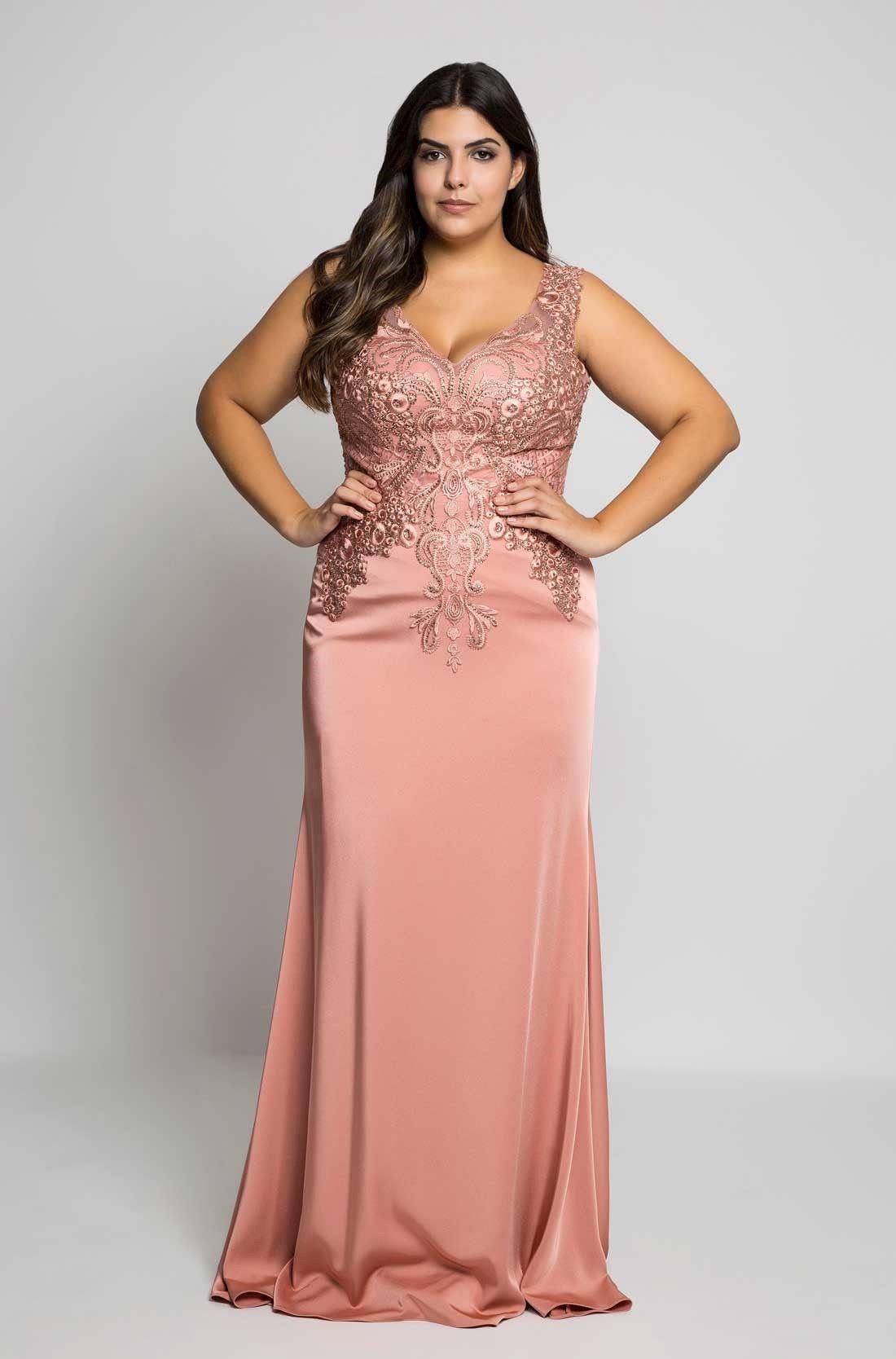 Vestido Festa Plus Size Liso Rosa | POP Dress