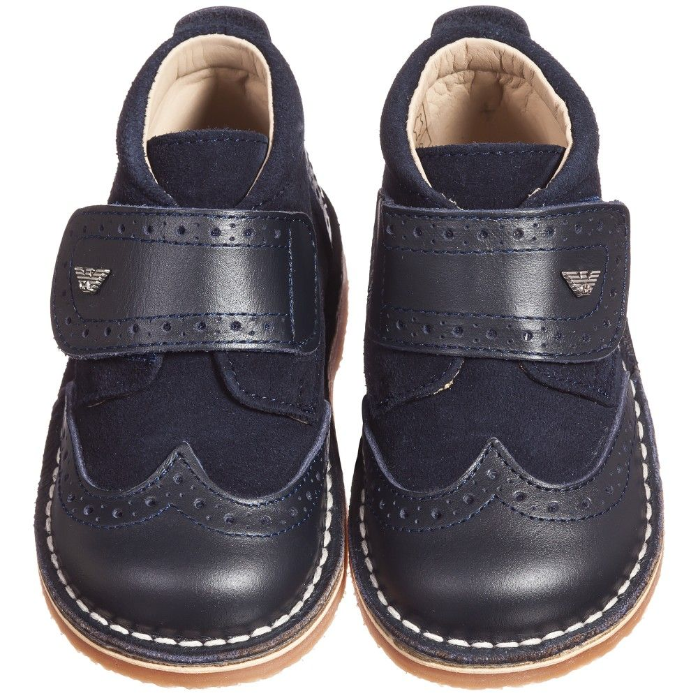 Armani Junior - Baby Boys Navy Blue Leather Boots | Childrensalon