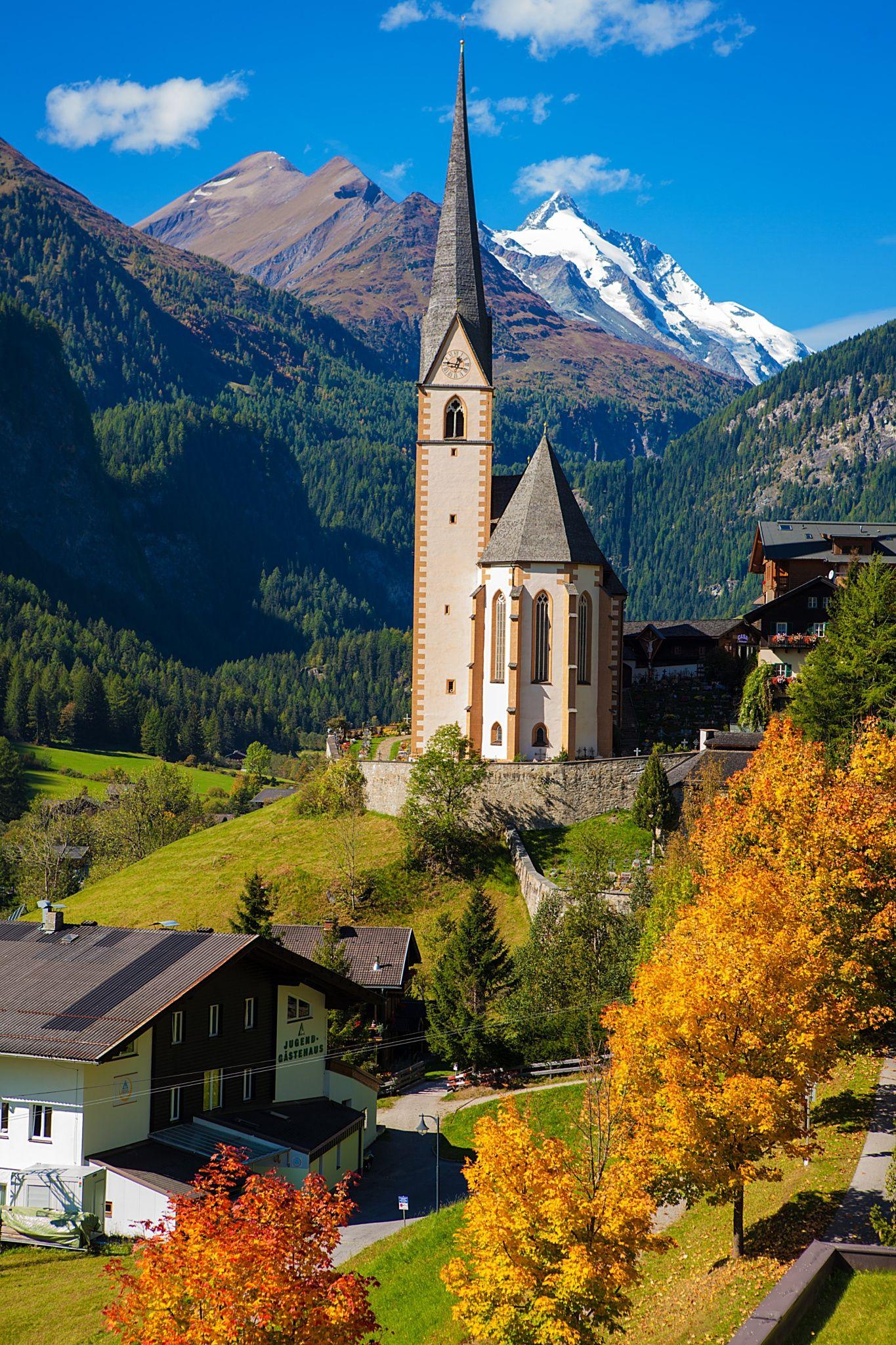 church in cortina  autumn  italy