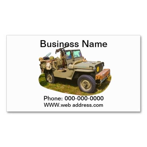 Willys World War Two Army Jeep Business Card Templates