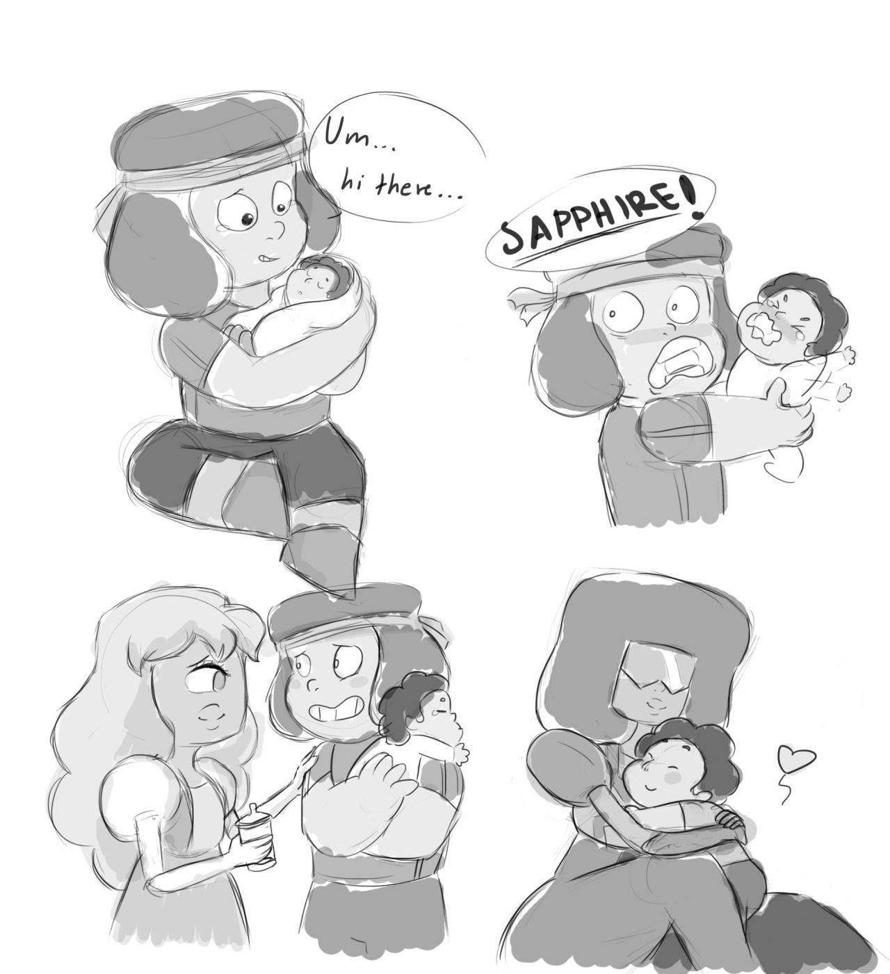 SU (Steven Universe) Parent hood Ruby, Sapphire and Garnet