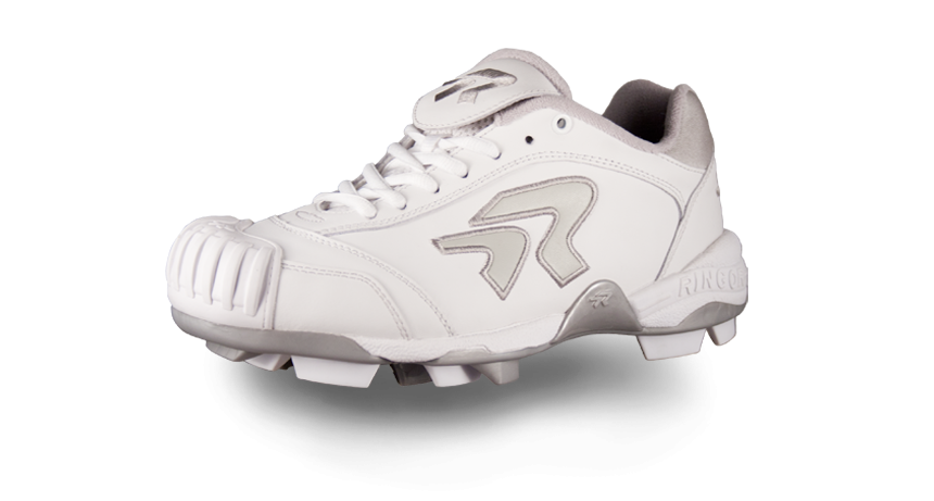 abd5cb178  103 Fastpitch Softball - Ringor Diamond Dynasty Cleat with Pro-Tec-Toes-  White Silver