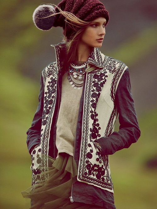 Free People Stitched Quills Jacke + great hat