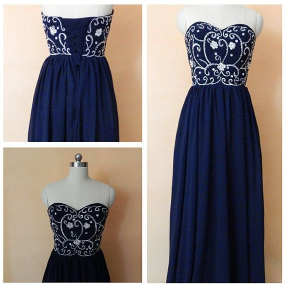 Long Navy Blue Embroidery Prom Dress, Bridesmaid Dress Red Black by WhiteValentine, $95.00